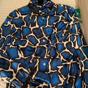 Giraffe Print Ruffle Silk Shirt Size 8